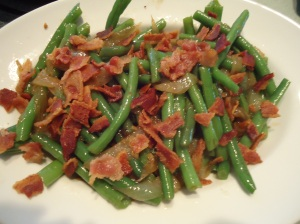 Green Beans with Sauteed onions and bacon